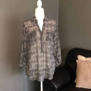 New York and company sheer high low blouse size L